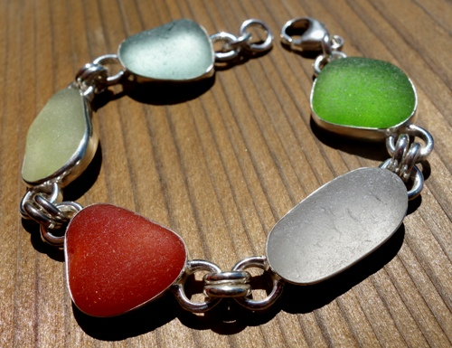 exotic sea glass bracelet