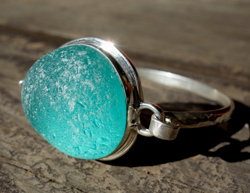 aqua blue sea glass bracelet