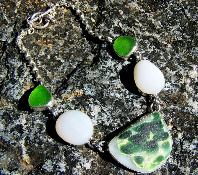 SCSG Pattern sea glass necklace