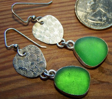 Green sea glass Yin Yang earrings