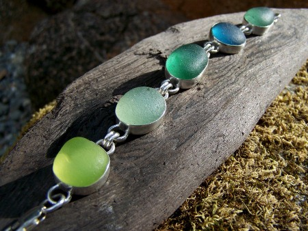 SCSG sea glass link bracelet
