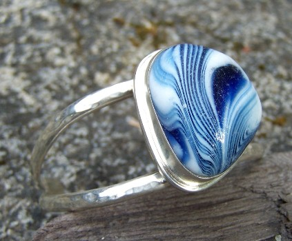 SCSG exotic sea glass cuff bracelet