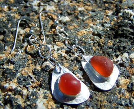 SCSG orange sea glass earrings