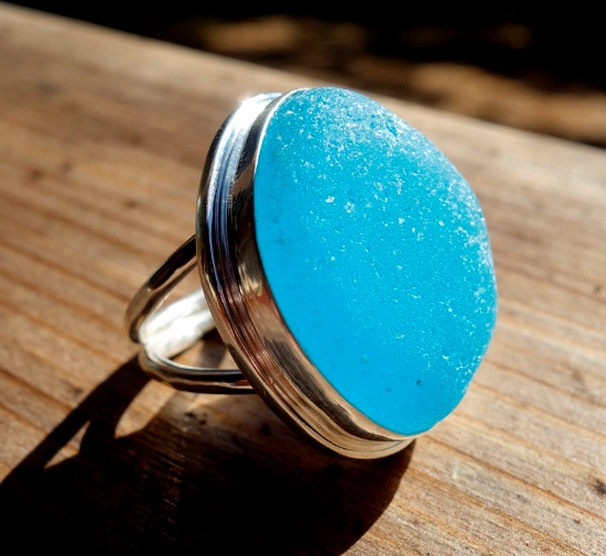 Rare sea glass ring