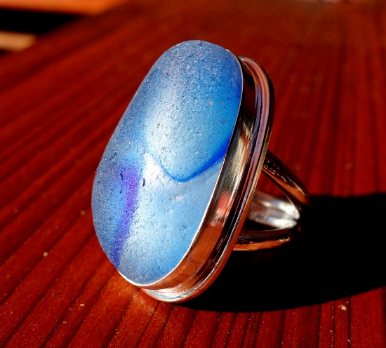 genuine santa cruz sea glass ring!